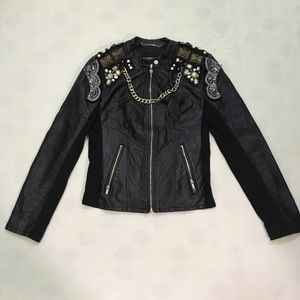 Express black faux leather embellished jacket
